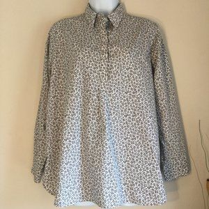 🔴Lands' End cheetah non iron pull over blouse 12P